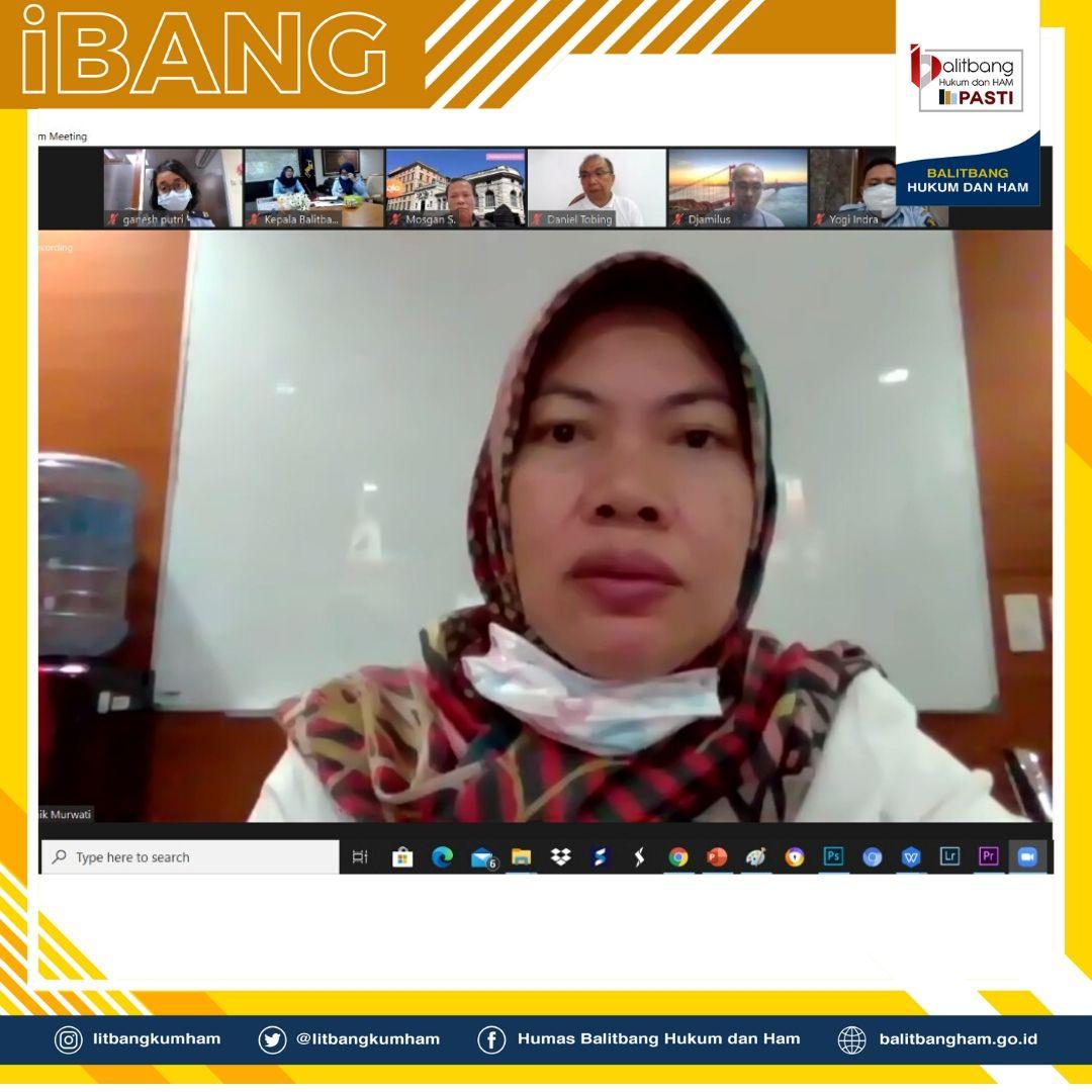 Rapat Daring Evaluasi Penataan Struktur Organisasi Balitbangkumham