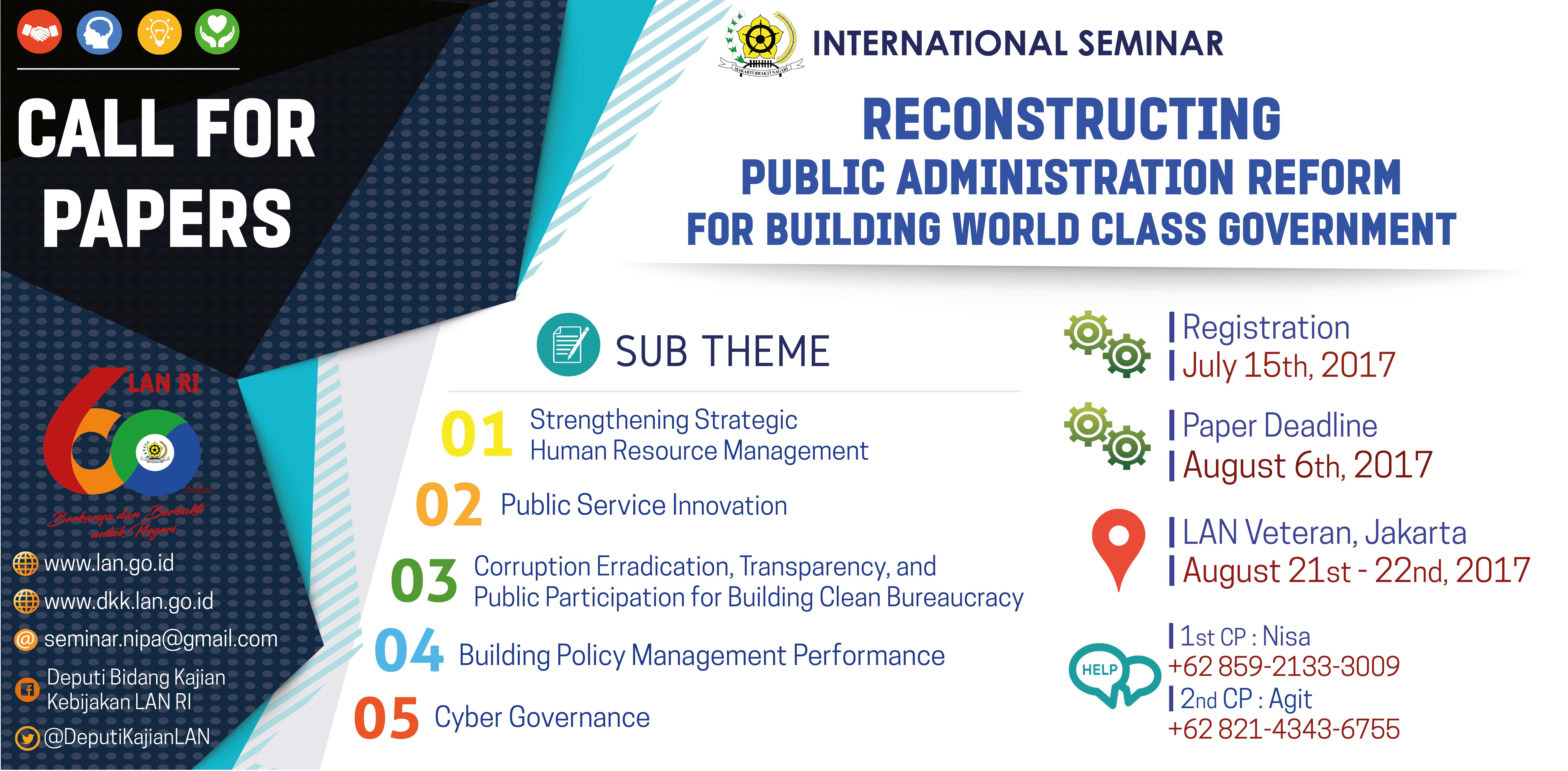 Seminar Internasional Rekonstruksi Reformasi Administrasi Negara untuk Membangun World Class Government oleh Lembaga Administrasi Negara