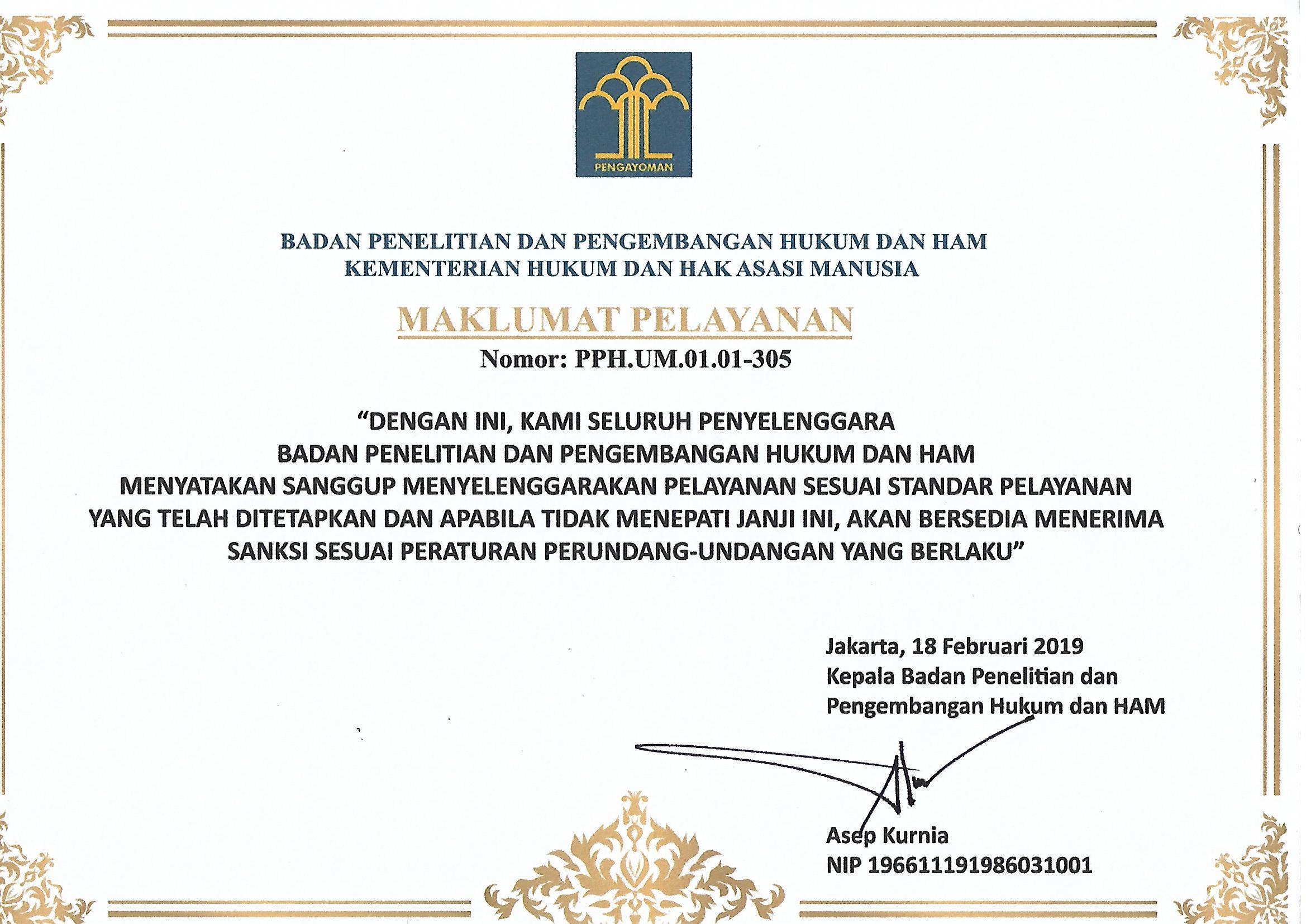 Maklumat Pelayanan Badan Litbang Hukum dan HAM 2019