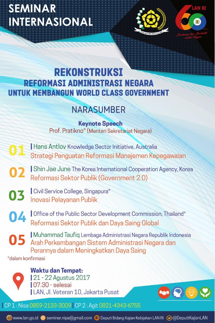 Seminar Internasional Rekonstruksi Reformasi Administrasi