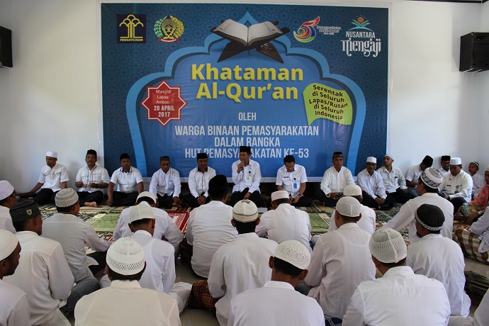 Kehadiran Ka.Balitbangkumham Tambah Energi Baru di Khataman Al-Quran Lapas Ambon