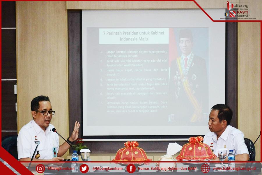 Kepala Balitbangkumham Melakukan Peninjauan dan Sosialisasi Aplikasi IPK - IKM di Kantor Wilayah Kemenkumham Sulsel